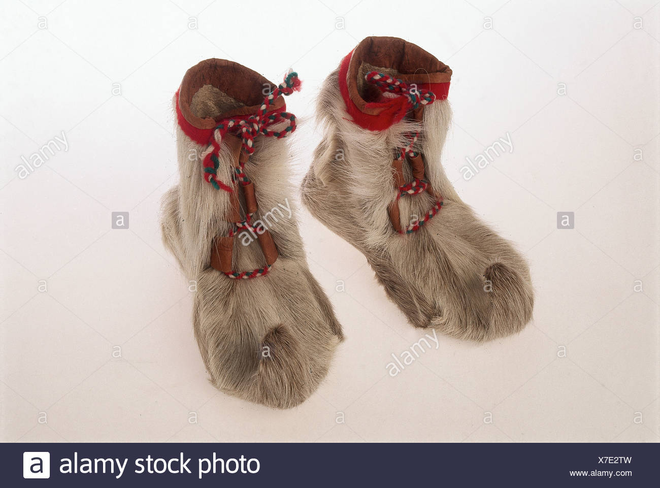 Norvegia, Sami scarpe, noto come skaller, realizzato dalla pelle di renna Immagini Stock
