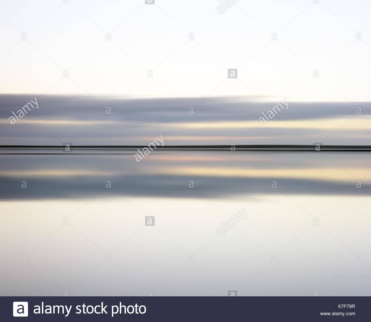 Il mare del Nord, windless, cielo, nuvole, Horizon, Immagini Stock
