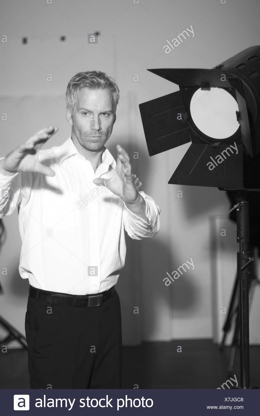 Fotografo, studio, lampada, istruzione, b/w, , Immagini Stock