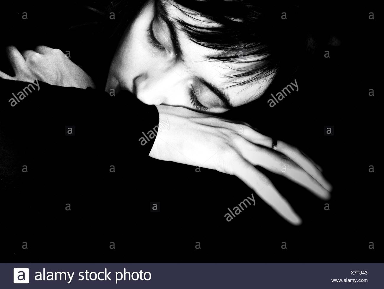 Ritratto di donna che dorme Immagini Stock