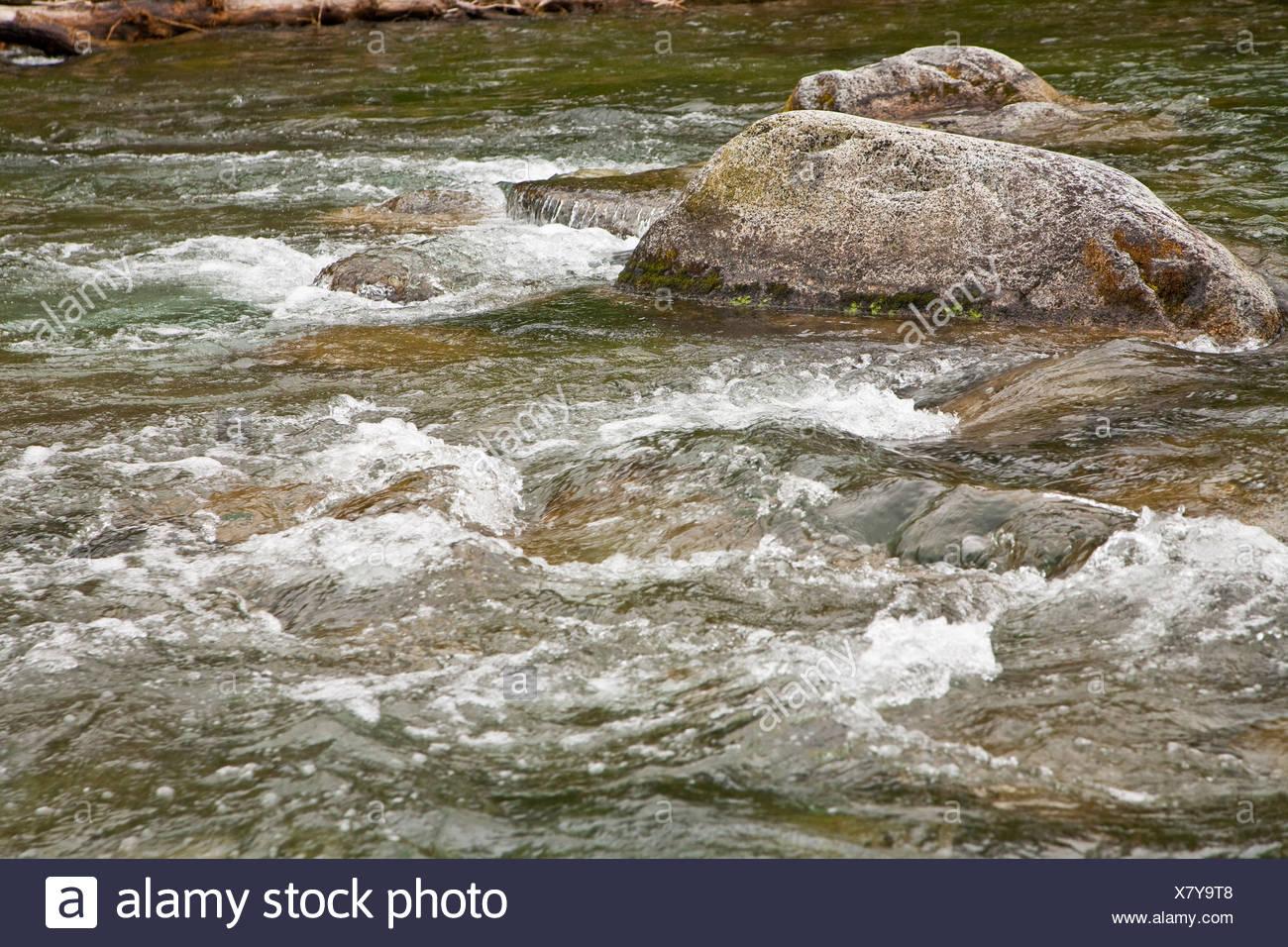 Acqua di un fiume che scorre a valle intorno a rocce Immagini Stock