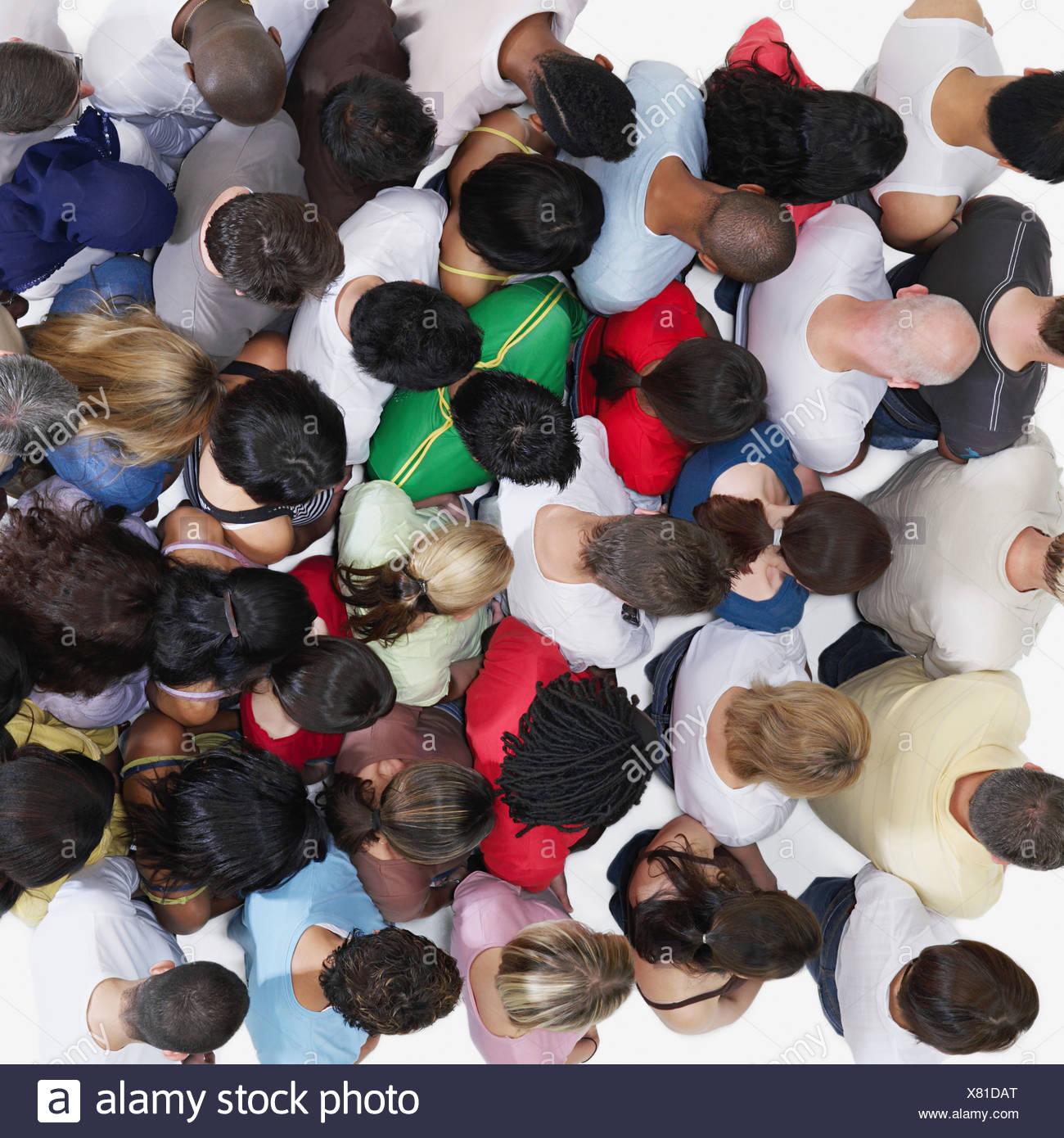Vista in elevazione di una folla Immagini Stock