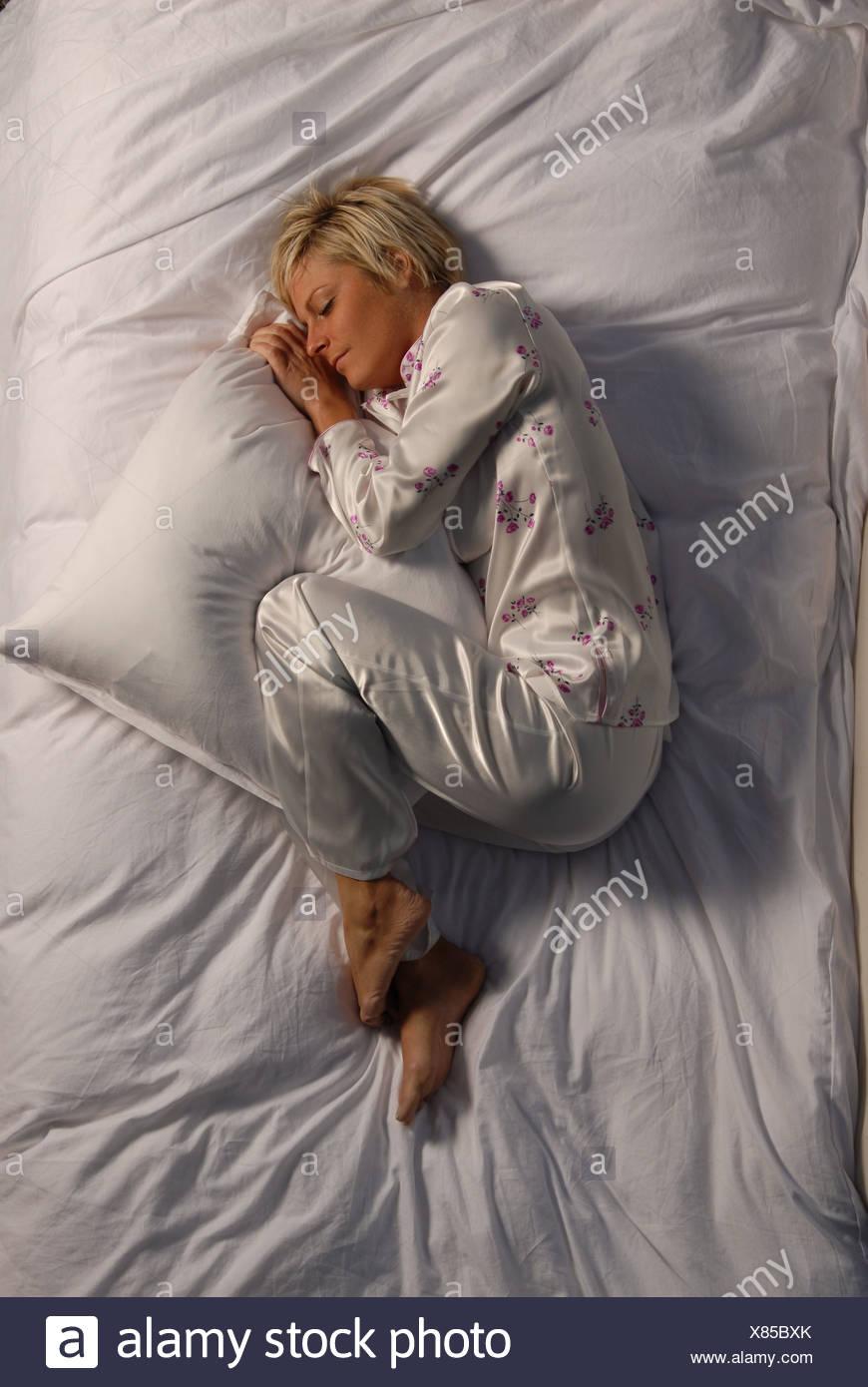Sonno, sonno, camere da letto, letto, giacciono, sognare, donna ...