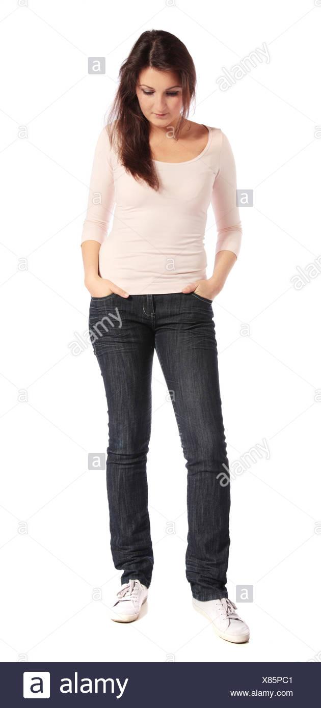 Donna che guarda in basso Immagini Stock