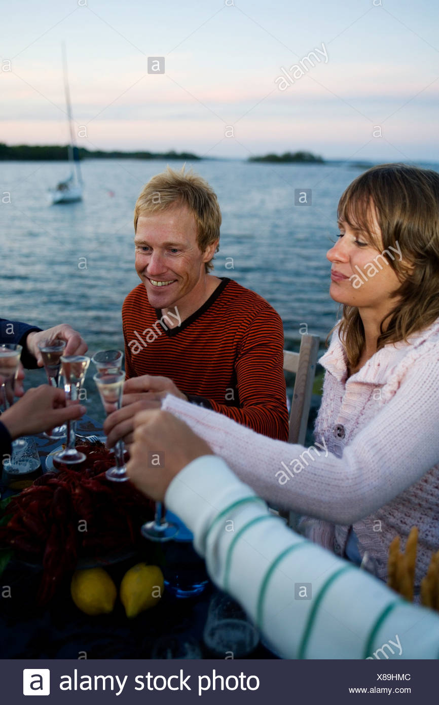 Gamberi di fiume partito, Fejan, arcipelago di Stoccolma, Svezia. Foto Stock