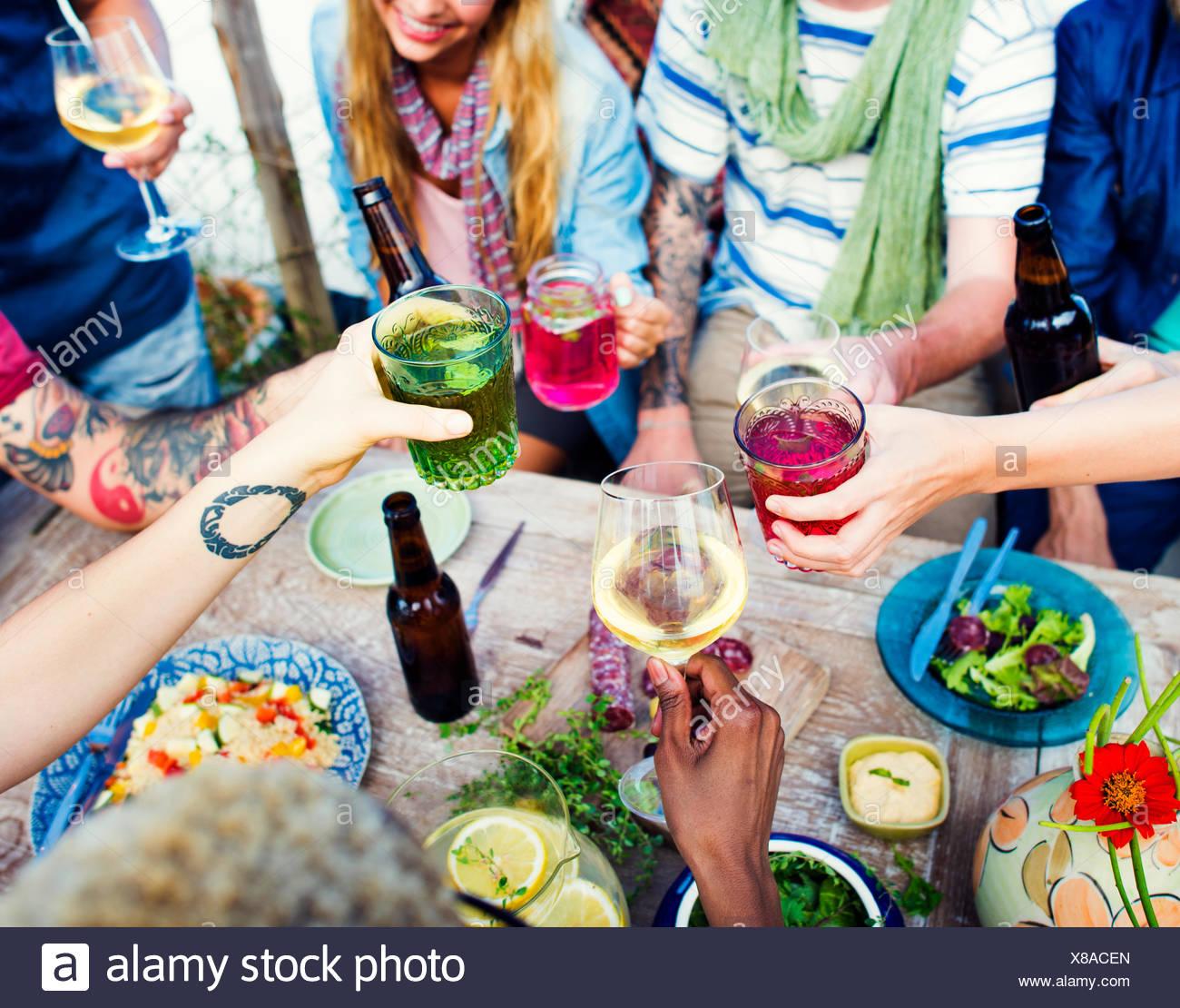 Etnie amicizia Party Tempo Libero Concetto di felicità Immagini Stock