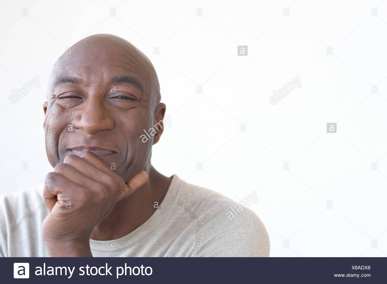 Coppia African uomo sorridente Foto Stock