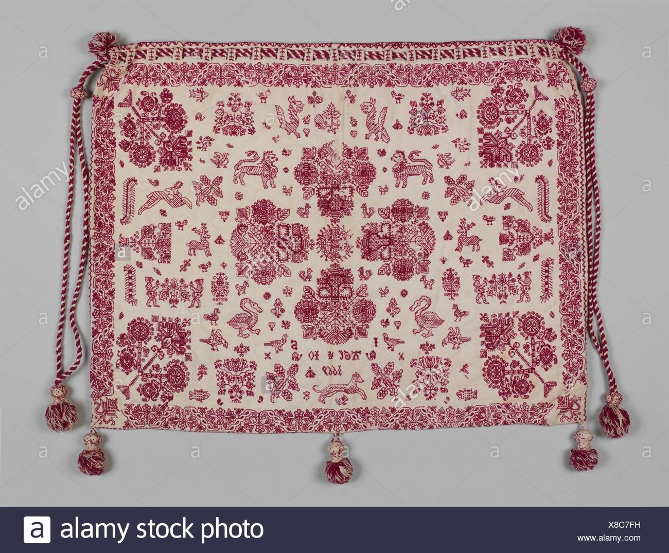 bc9d986cc9 Borsa da lavoro. Data: 1669; Cultura: British; medie: Lino lavorato con filo  di lana; doppio acceso e cuciture a spina di pesce; Dimensioni: in generale,