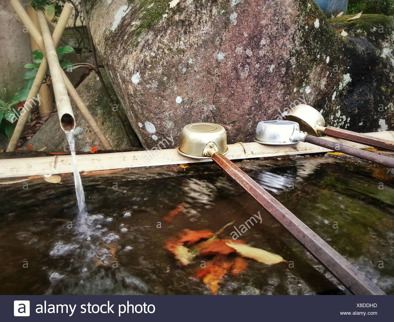 Acqua bene al santuario giapponese Immagini Stock