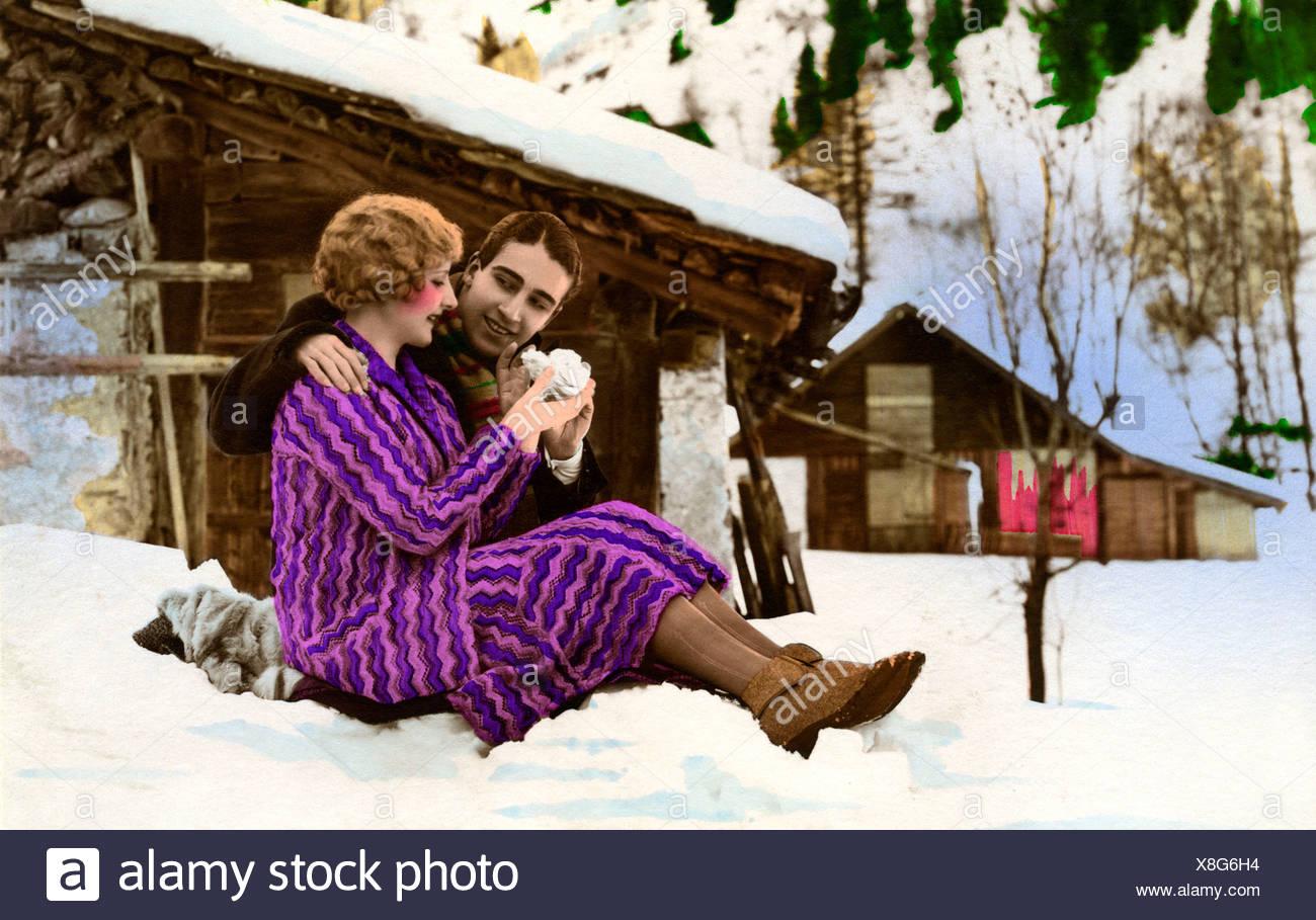 Fotografia storica, flirt, circa 1925 Immagini Stock