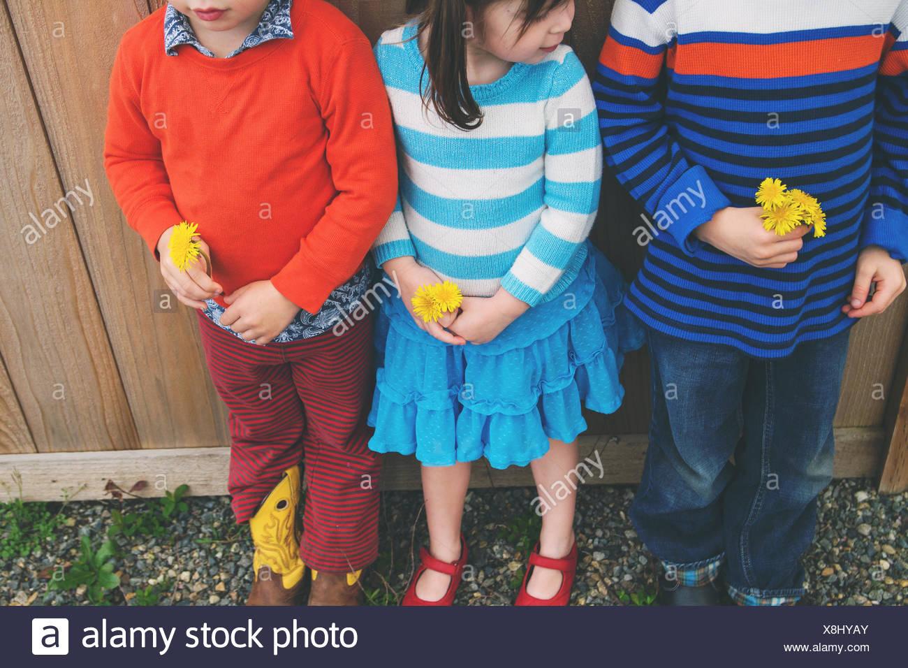 Tre bambini in piedi in una fila, tenendo i fiori Immagini Stock