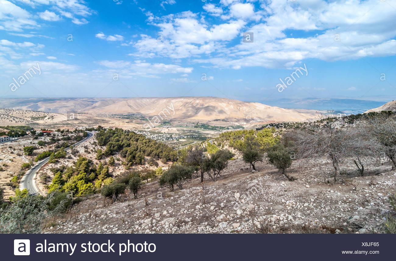 Giordania, vista verso il Golan al giorno Immagini Stock