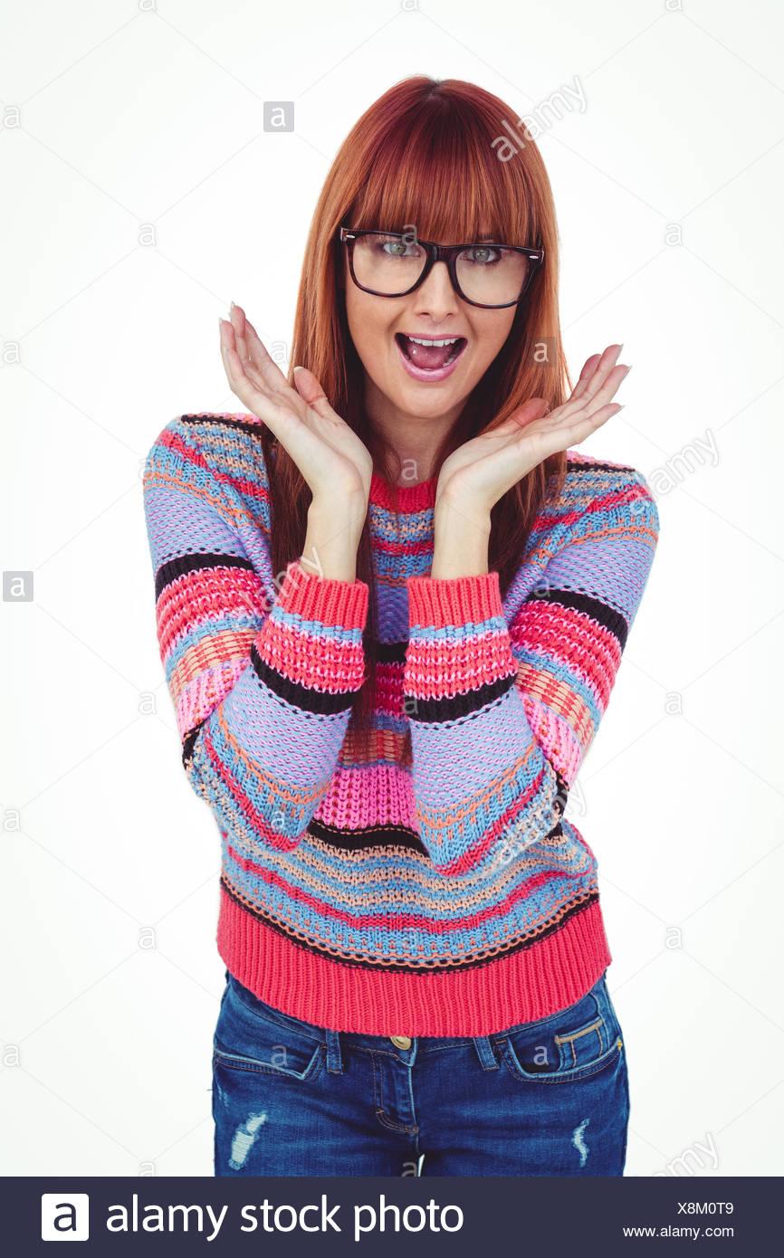 Stupito hipster donna che guarda la fotocamera Immagini Stock