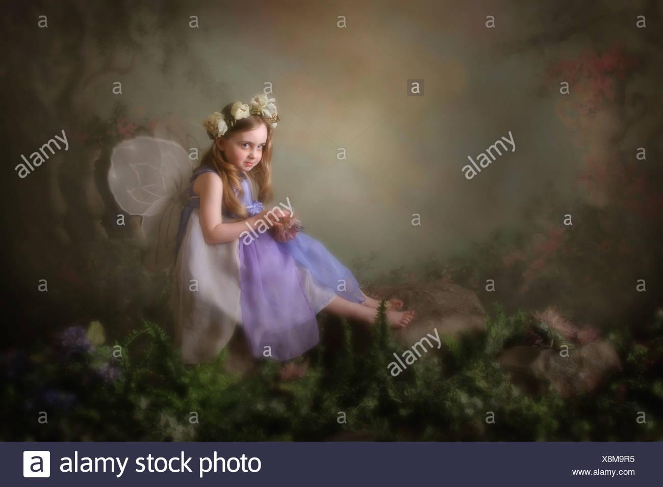 Victoria, British Columbia, Canada; una ragazza vestita come una fata Immagini Stock