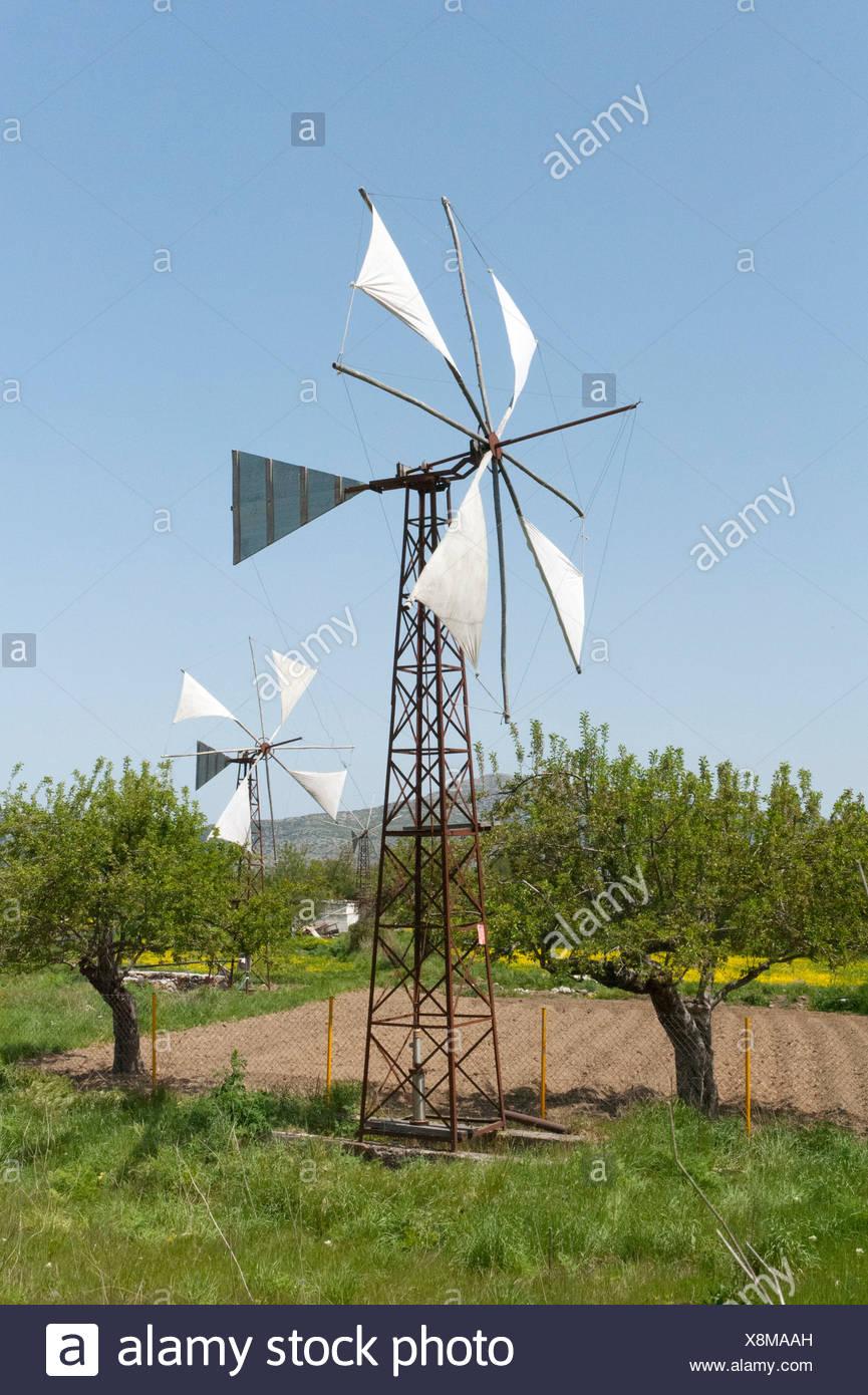 L'energia eolica, windmill utilizzato come una pompa di acqua per irrigazione, Psychro, altopiano di Lassithi, Creta, Grecia, Europa Immagini Stock
