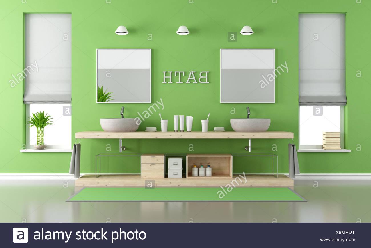 Verde e grigio bagno moderno con lavandini foto immagine stock