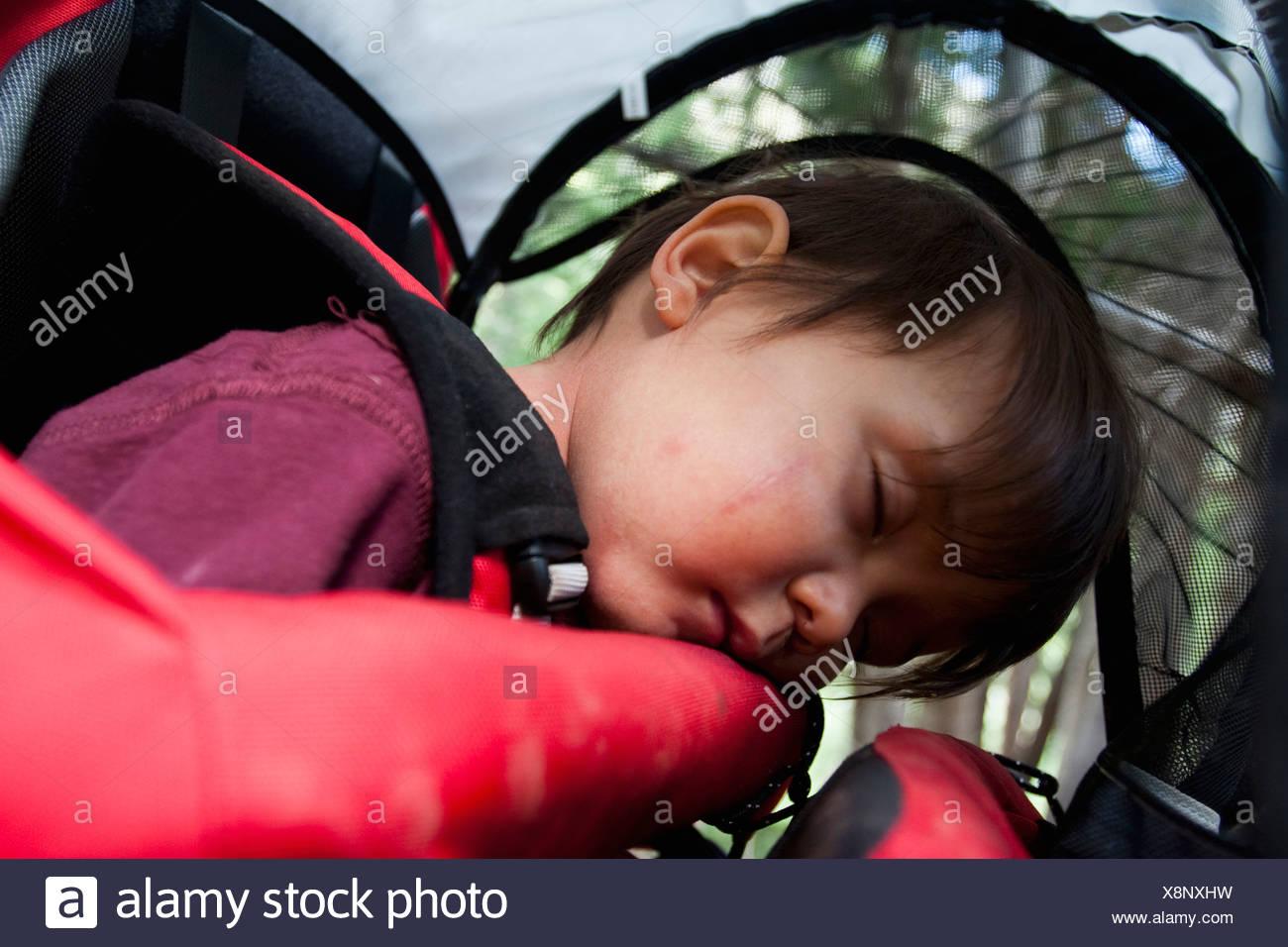 14 mese vecchio ragazzo dorme in uno zaino portato dalla madre, backpacking in Maroon Bells Snowmass deserto fuori Aspen Colorado Immagini Stock