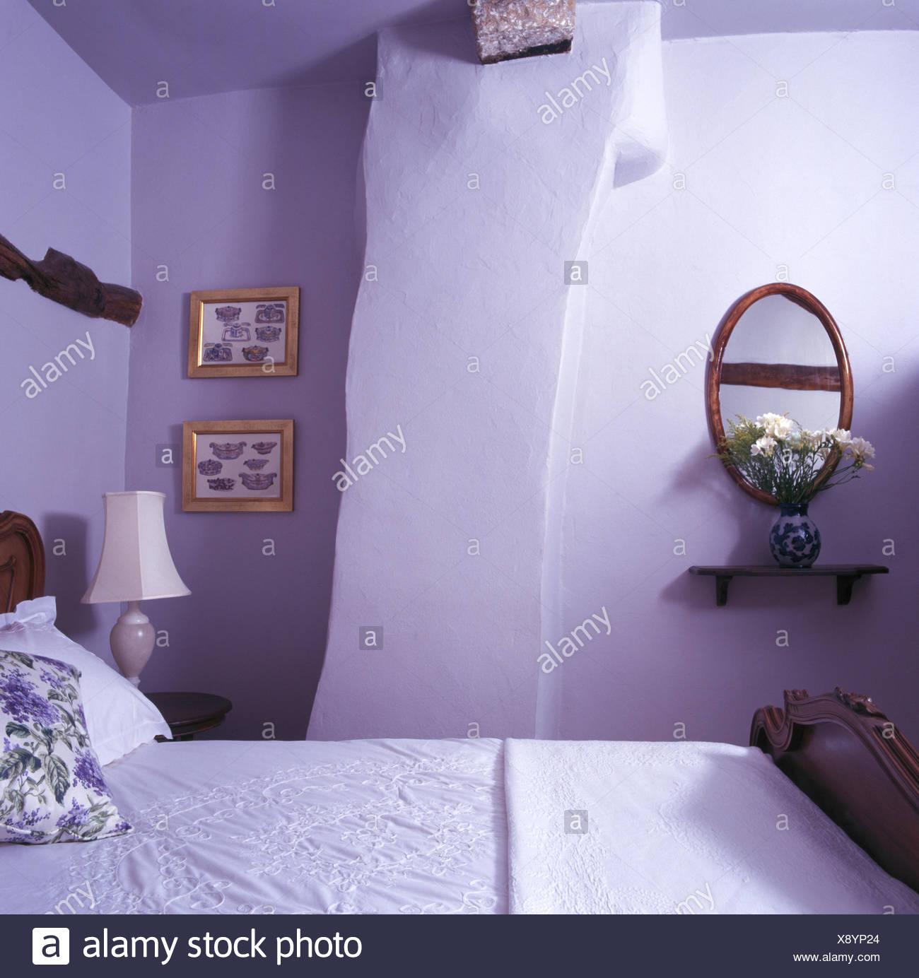 Specchio ovale da parete specchio da parete ovale stile - Parete viola camera da letto ...