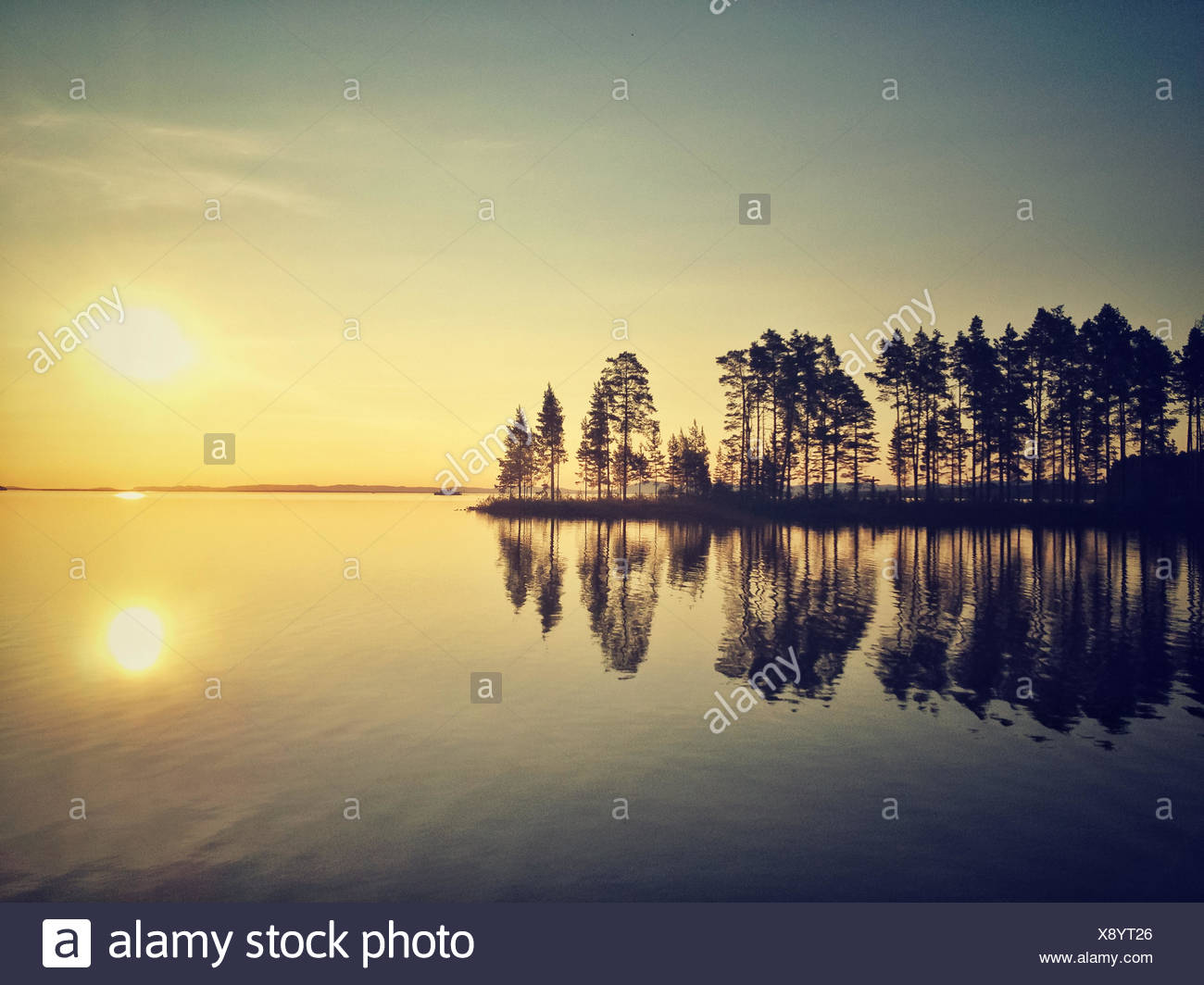 La Svezia, Tallberg, sul lago Siljan al tramonto Immagini Stock