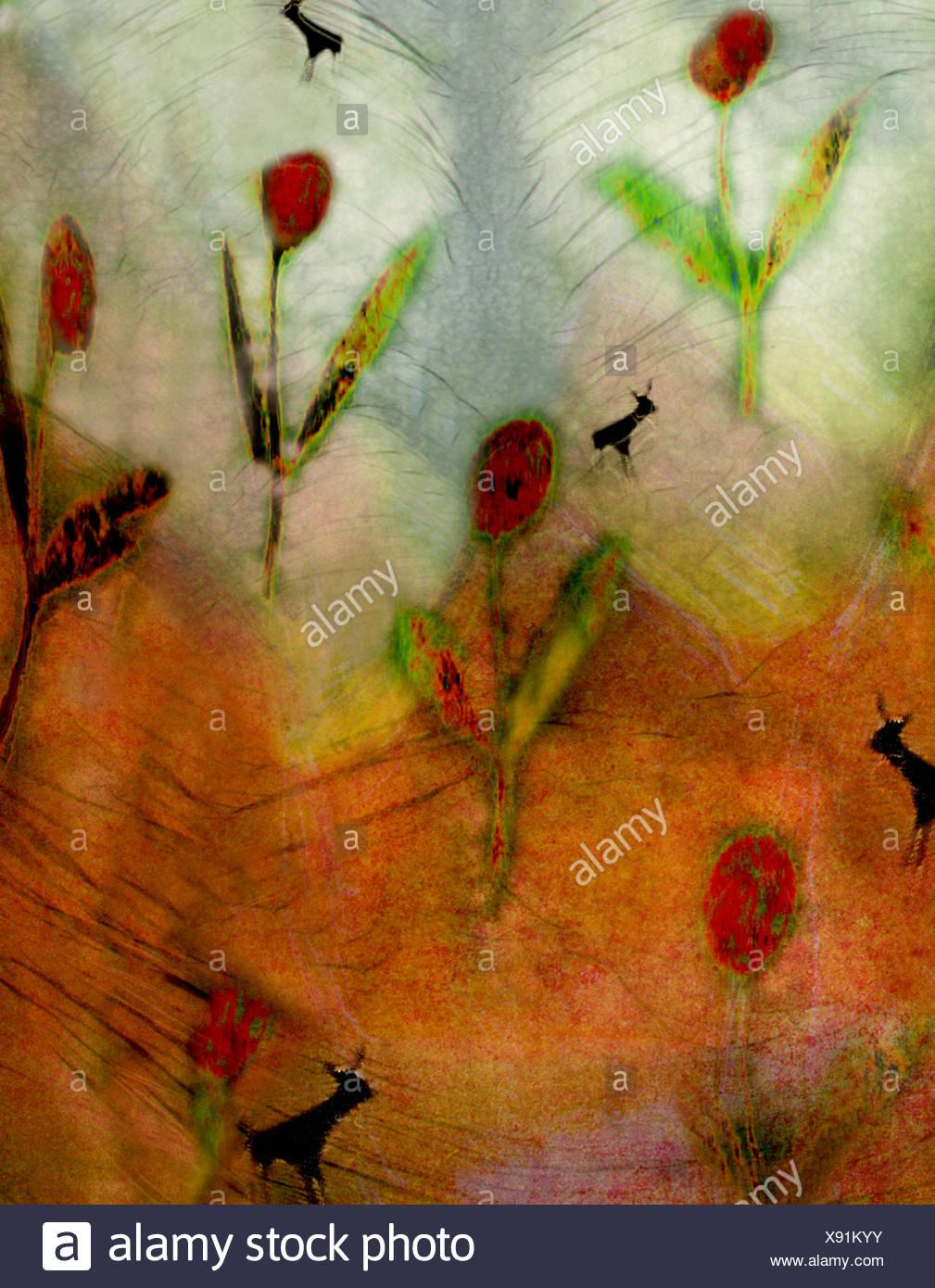 Abstract di fiori di colore rosso Immagini Stock