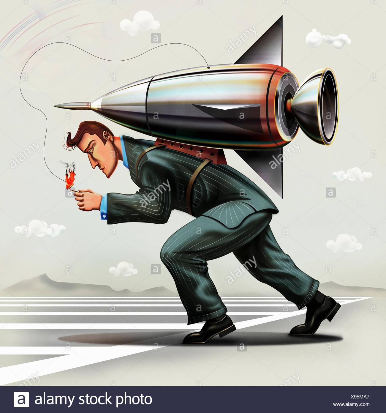 Imprenditore fusibile di illuminazione sul rocket pack sul retro Immagini Stock