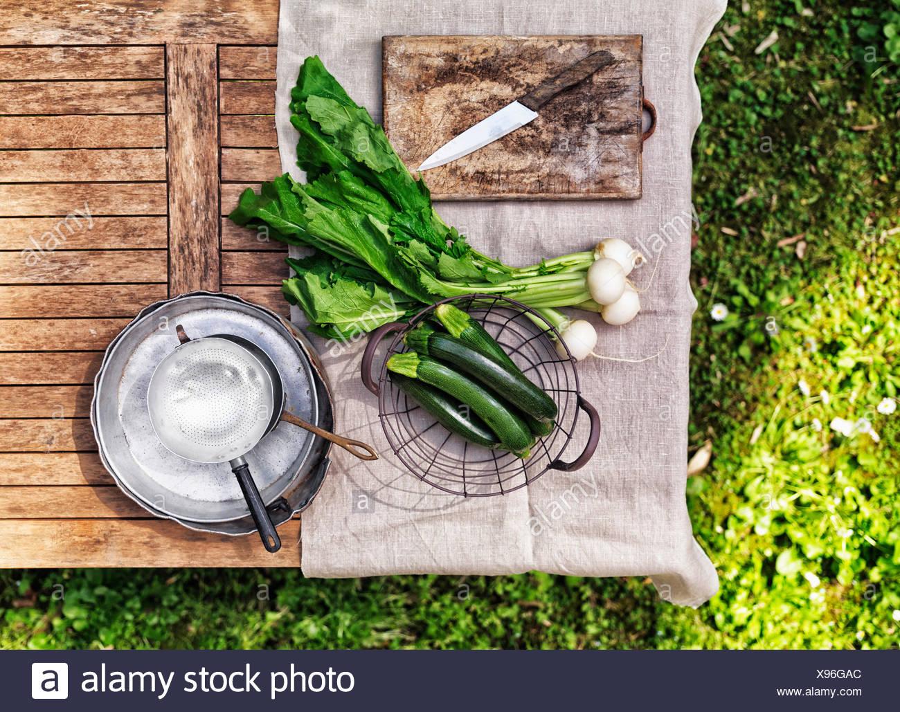 La rapa bianca e zucchine su un tavolo in giardino Immagini Stock
