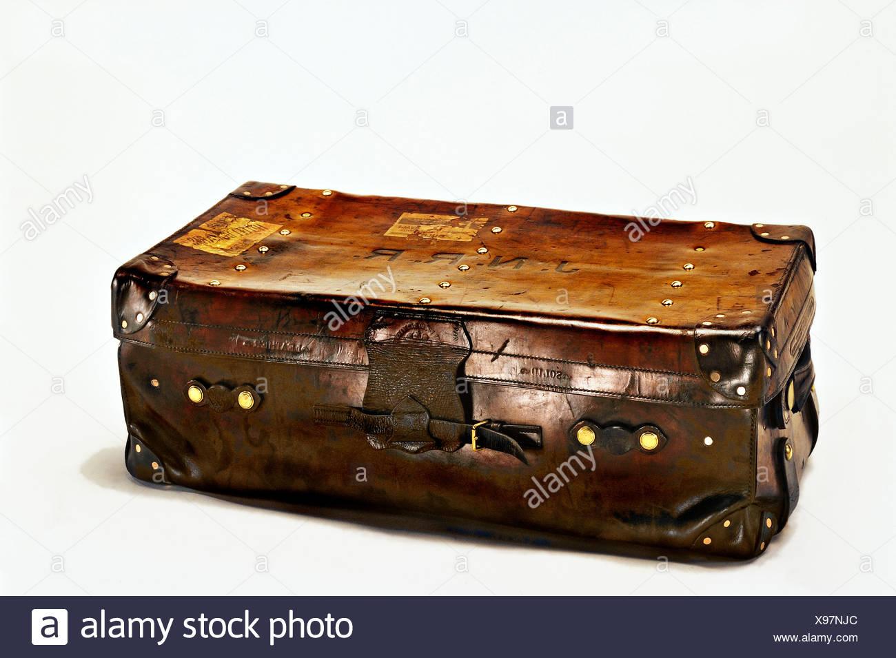 Vecchia valigia di cuoio, pelle solida Immagini Stock