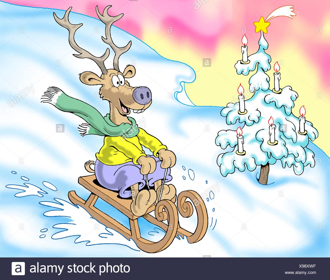 Slittino merry renne, illustrazione Immagini Stock