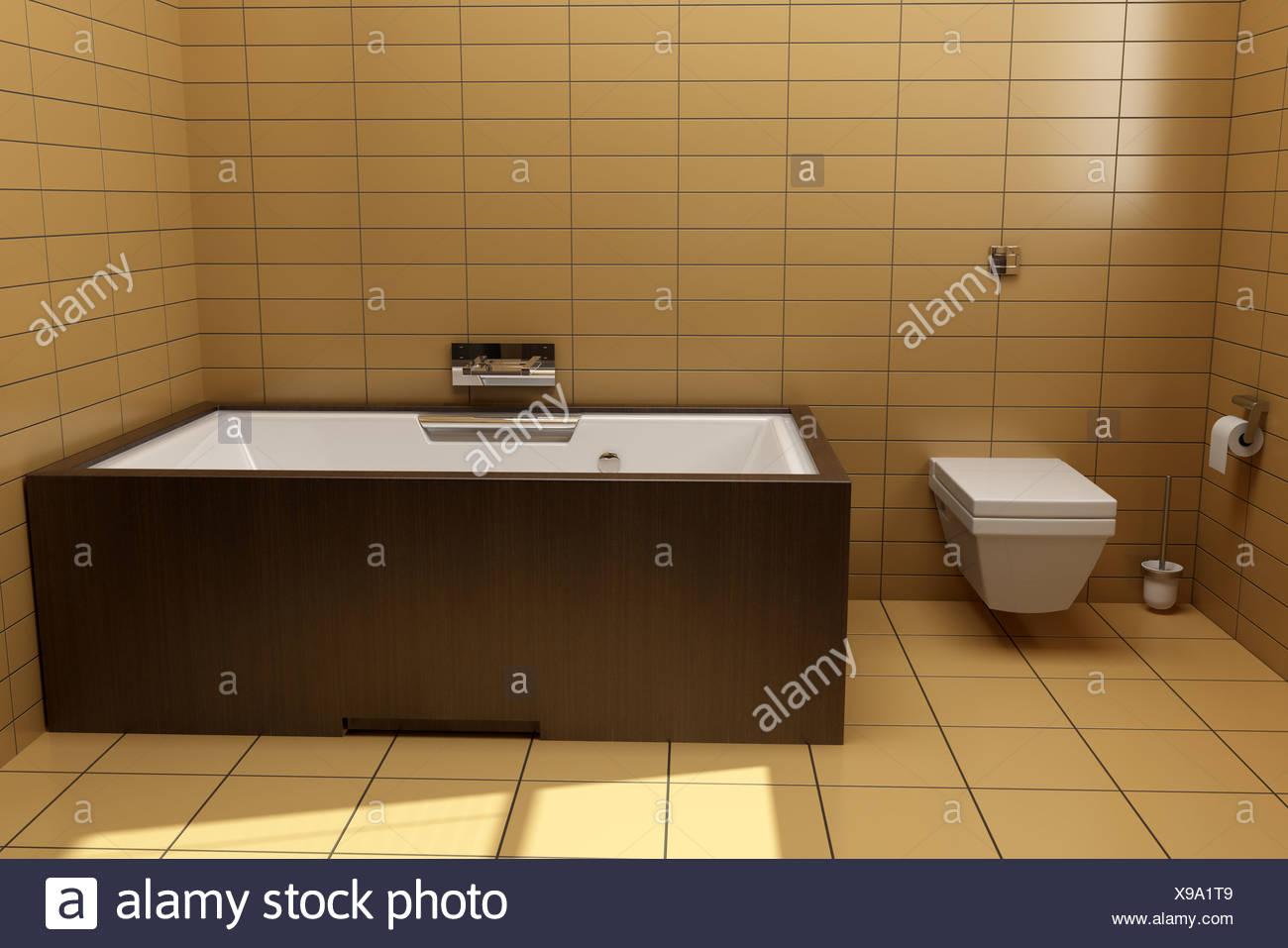Stile giapponese bagno con piastrelle marrone foto immagine