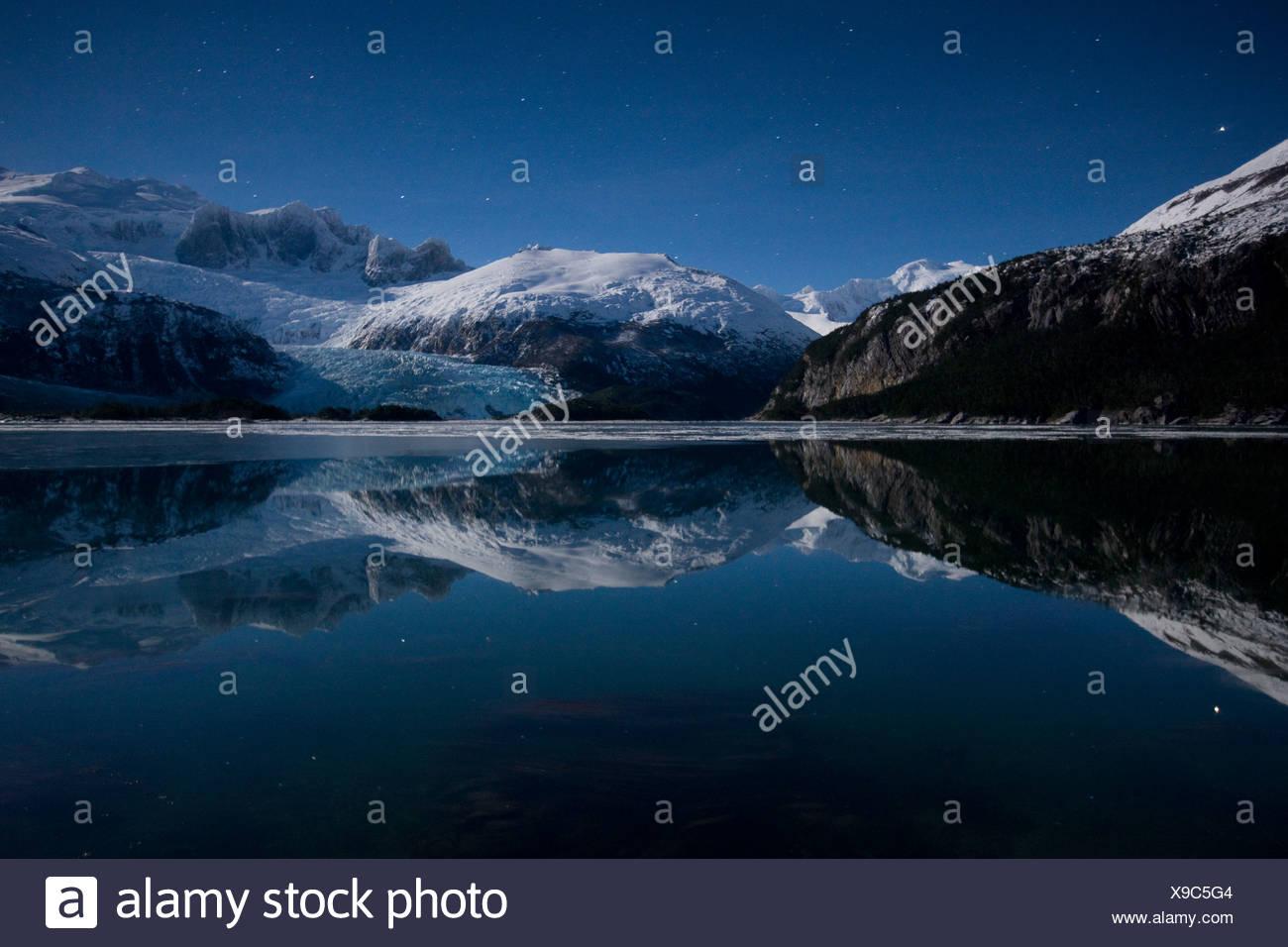 Inverno, Seno Pia, braccio est, Tierra del Fuego, Cile Immagini Stock