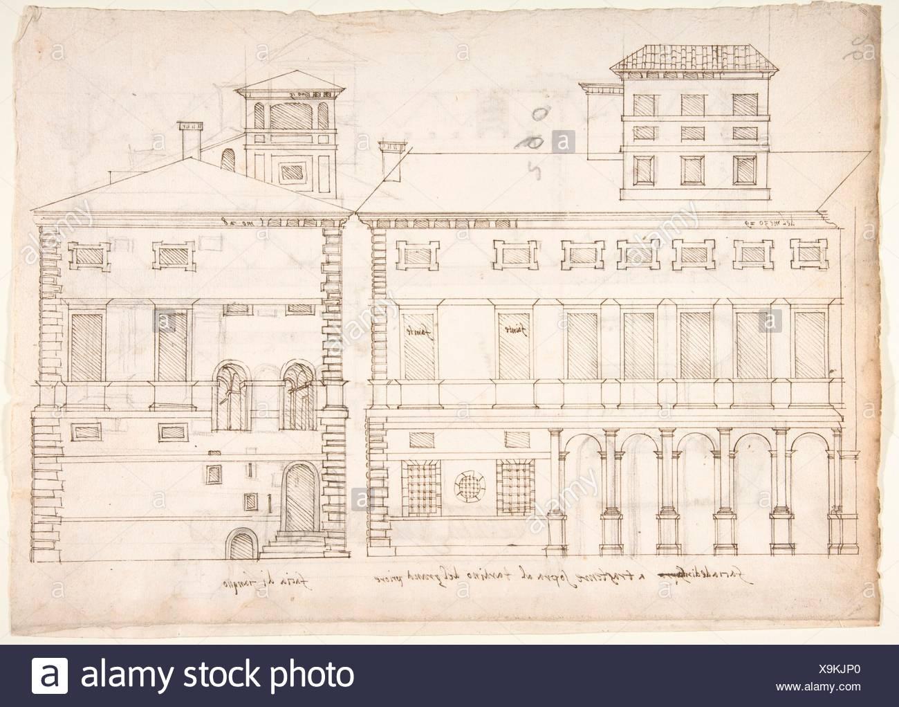 Palazzo Salviati-Adimari elevazioni (recto) Villa Farnesina maneggio, in pianta e di sezione; il disegno di una vite (verso). Relatore per parere: disegnato da anonimo, Immagini Stock