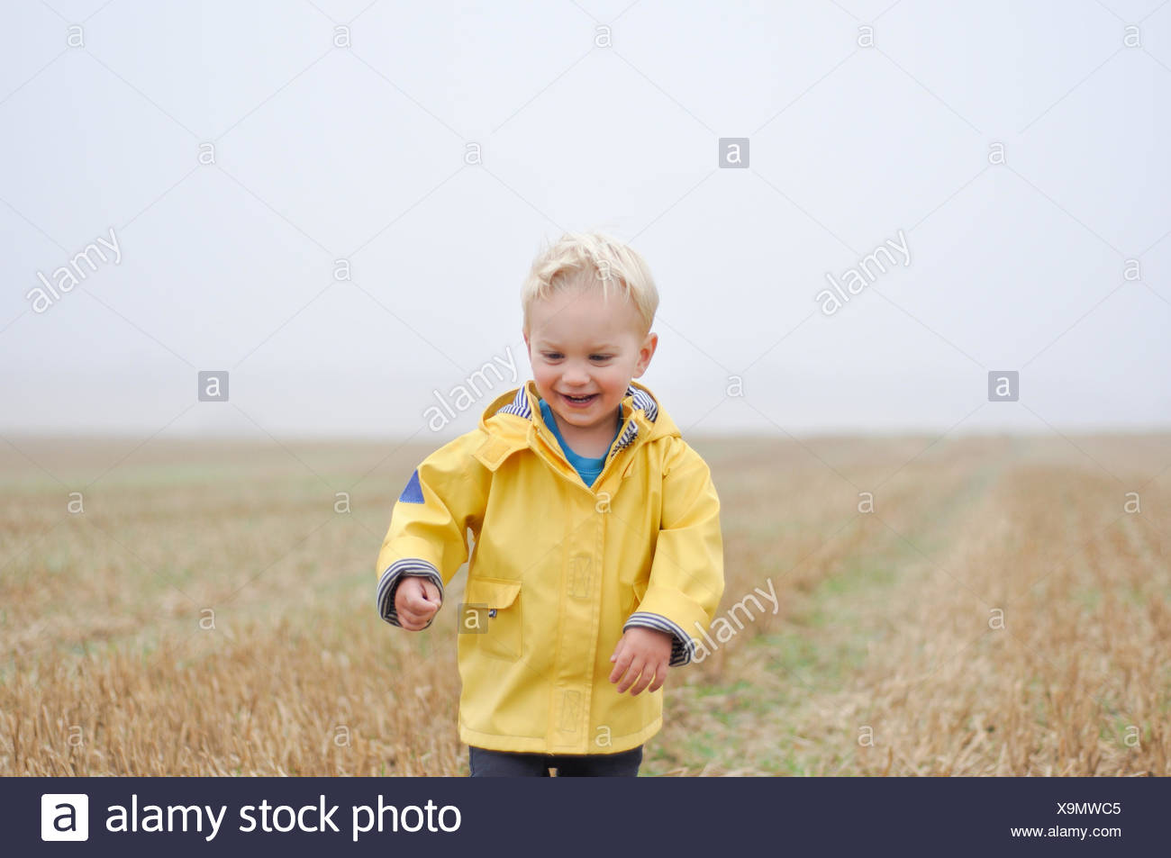 Ragazzo con un cappotto di pioggia in piedi in un campo di grano, England, Regno Unito Immagini Stock