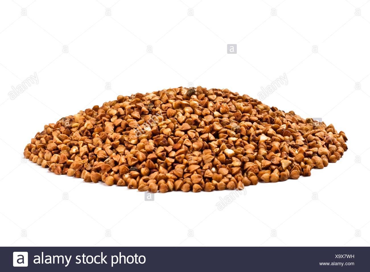 Una manciata di farina di grano saraceno Foto Stock