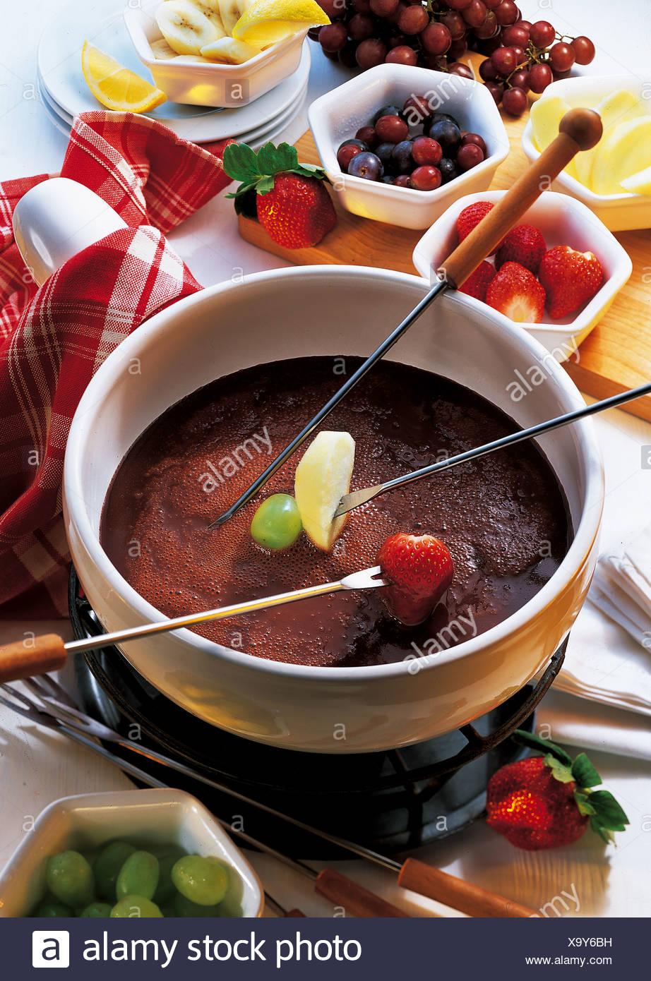La Fonduta di cioccolato, Svizzera, ricetta disponibile a pagamento Immagini Stock