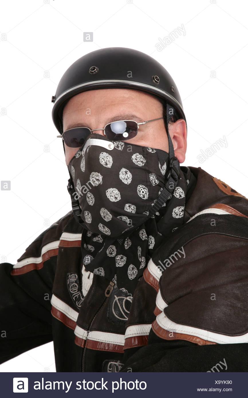 Motociclisti con il semiguscio casco, occhiali da sole e tendaggi Immagini Stock