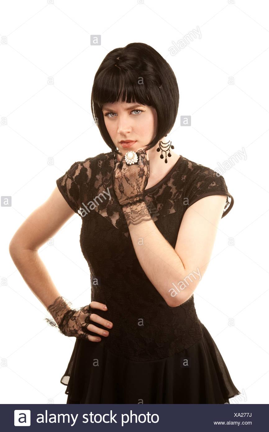 on sale 5d200 21049 Retrò donna con i capelli neri e Parigino degli anni ...