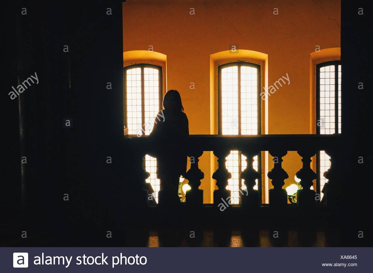 Silhouette a persona in piedi contro Windows Immagini Stock