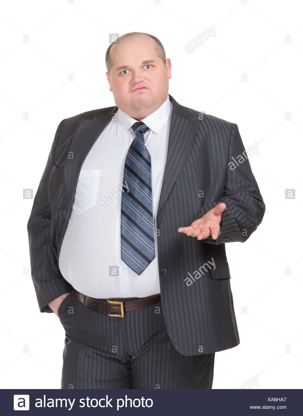 Imprenditore obesi facendo un punto Immagini Stock