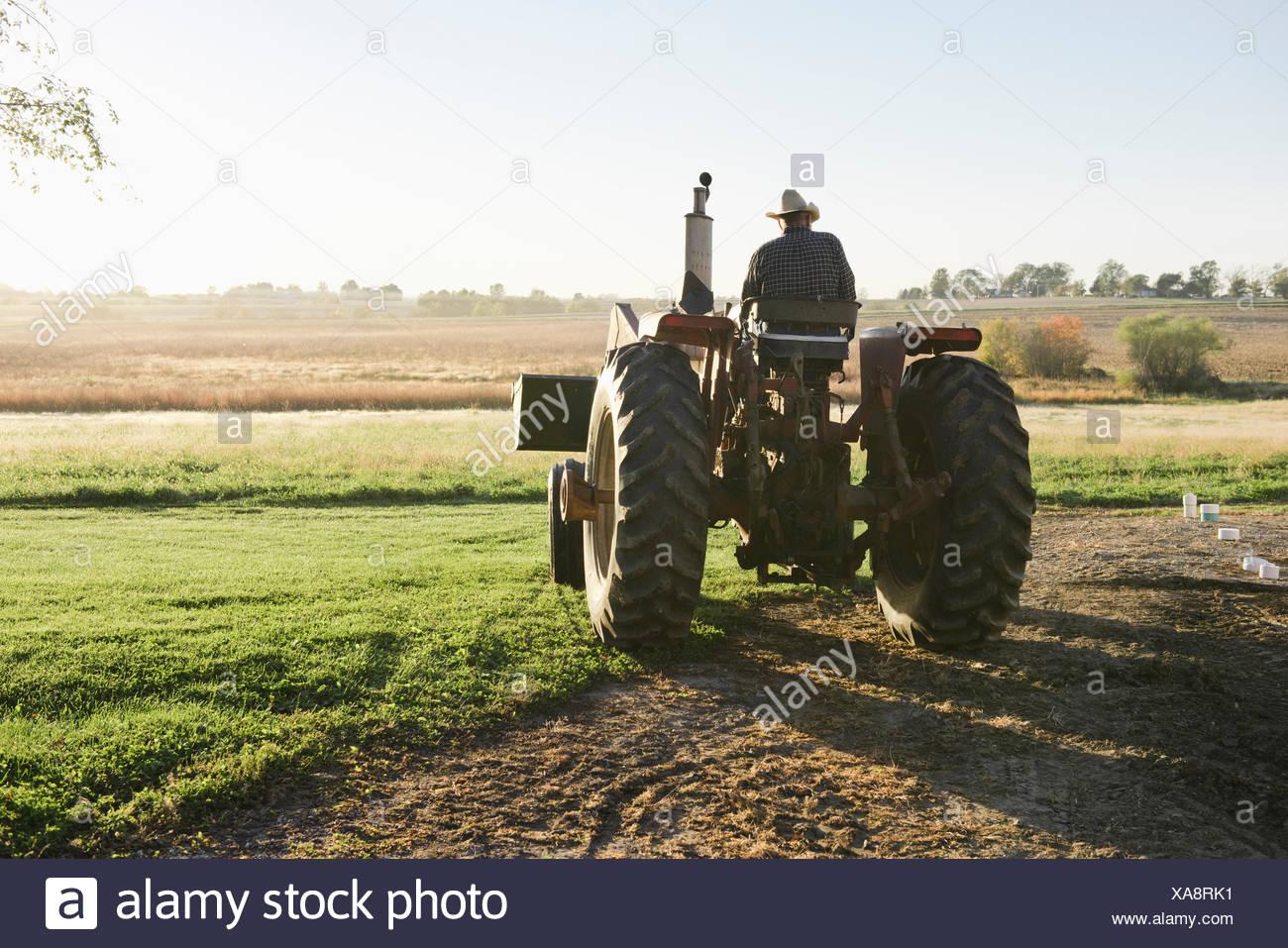 Vista posteriore del maschio anziano contadino di guidare il trattore nel campo, Plattsburg, Missouri, Stati Uniti d'America Immagini Stock