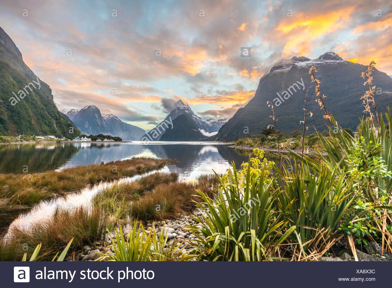 Mitre Peak, Tramonto, Milford Sound, Parco Nazionale di Fiordland, Te Anau, Regione del Southland, Southland, Nuova Zelanda, Oceania Immagini Stock