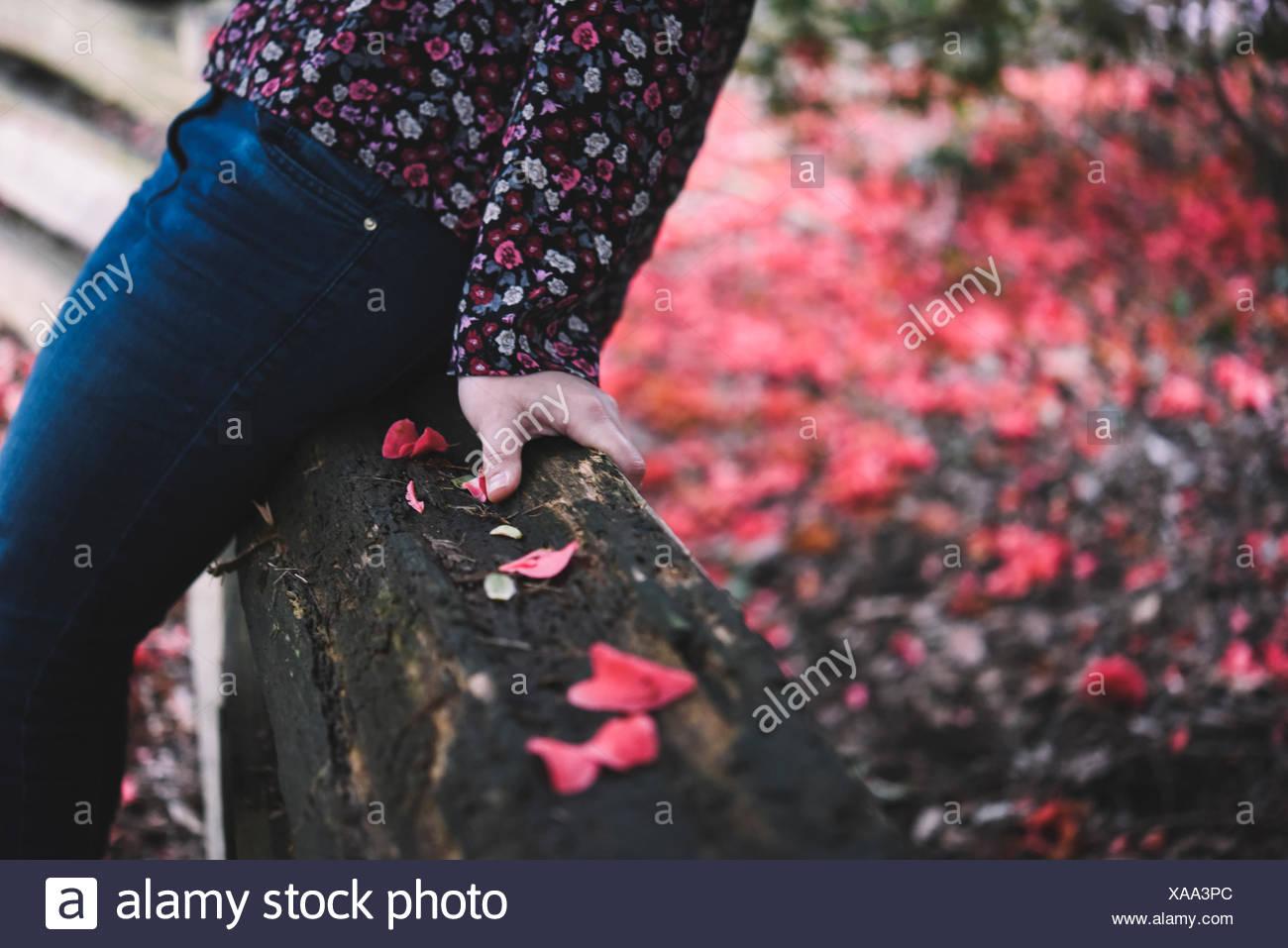 Close-up di metà sezione di una donna seduta su una recinzione di legno Immagini Stock