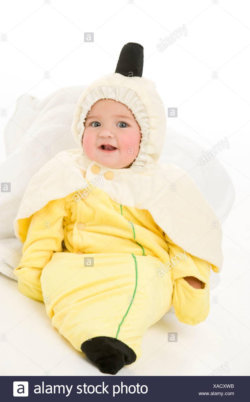 Bambino in costume di banana Immagini Stock