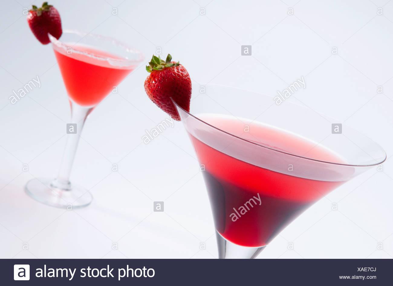 Close-up di due cocktail alla fragola Immagini Stock