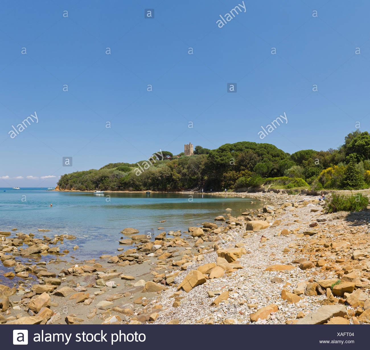 Punta Ala, Italia, Europa, Toscana, Toscana, mare, shore, pietre Immagini Stock