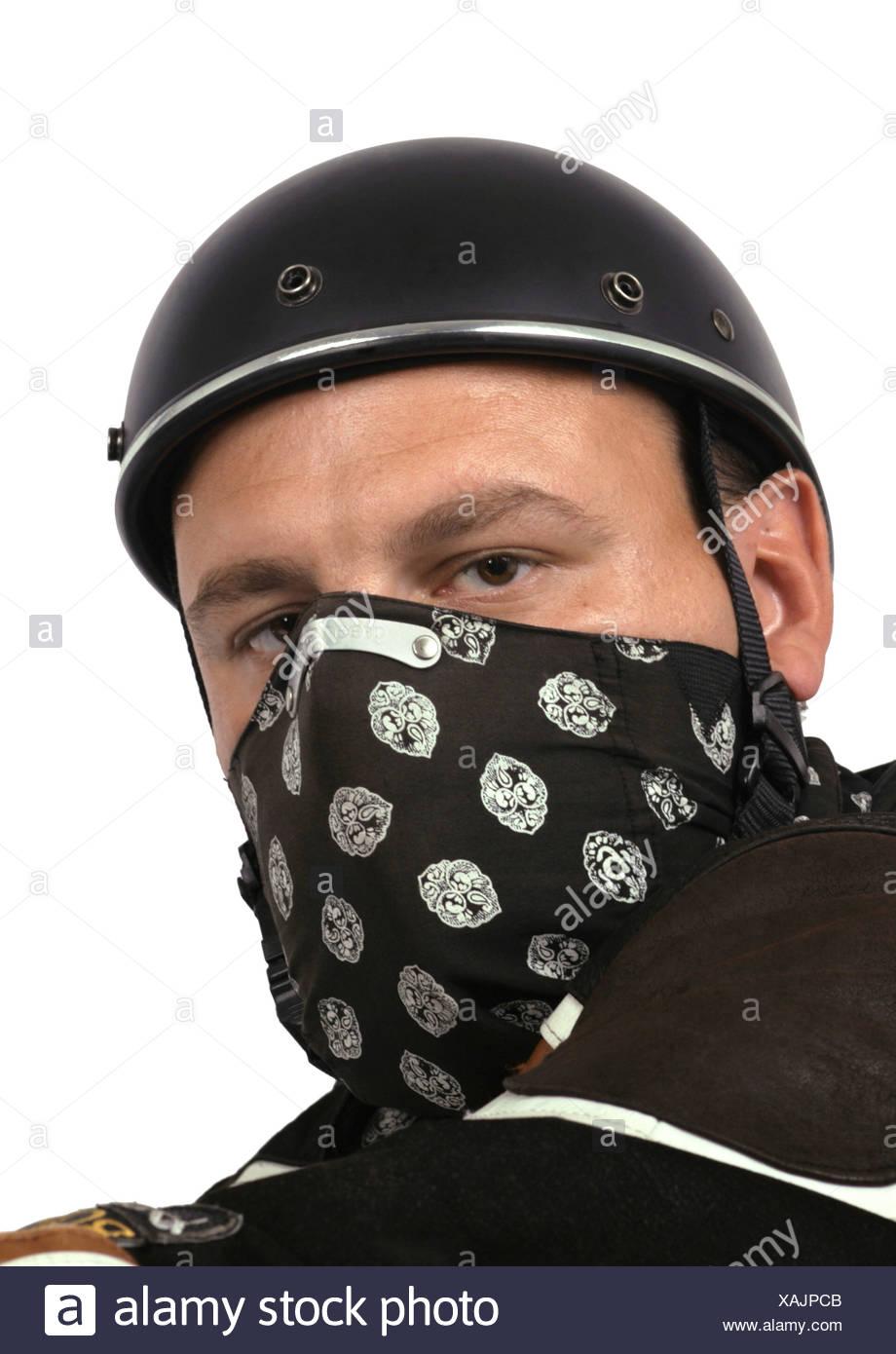 Motociclisti con il semiguscio casco e drappeggi Immagini Stock