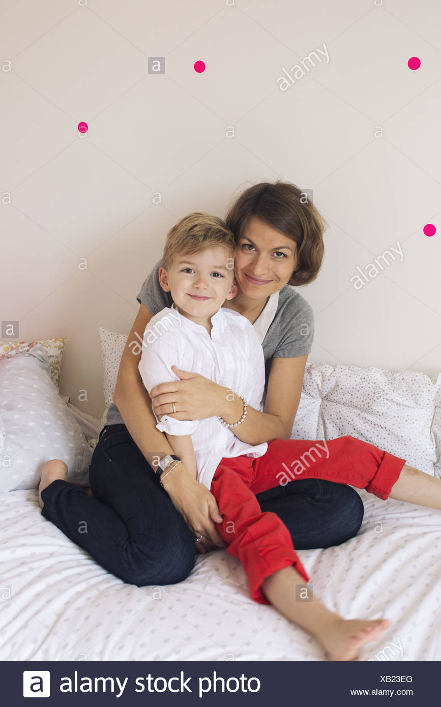 La madre e il figlio, ritratto Immagini Stock
