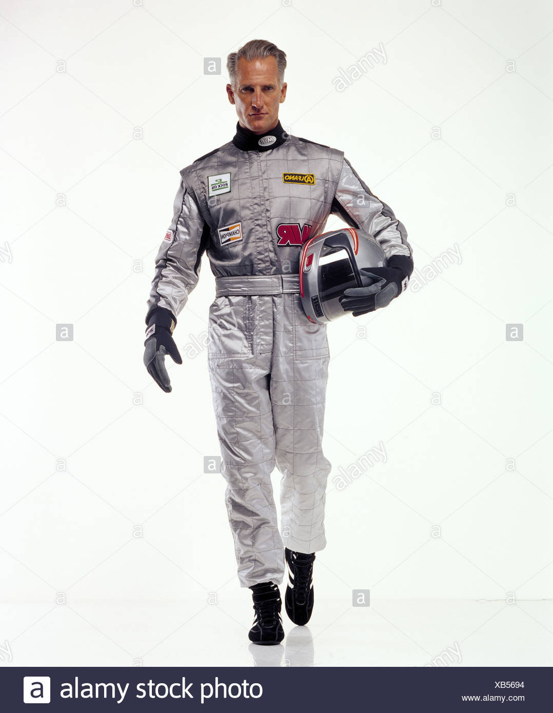 Motor Sport racing driver, complessivamente, casco, argento, movimento go sport, sport racing, uomo racing tuta, casco, casco, elmetto, guanti, studio, con testa, Immagini Stock