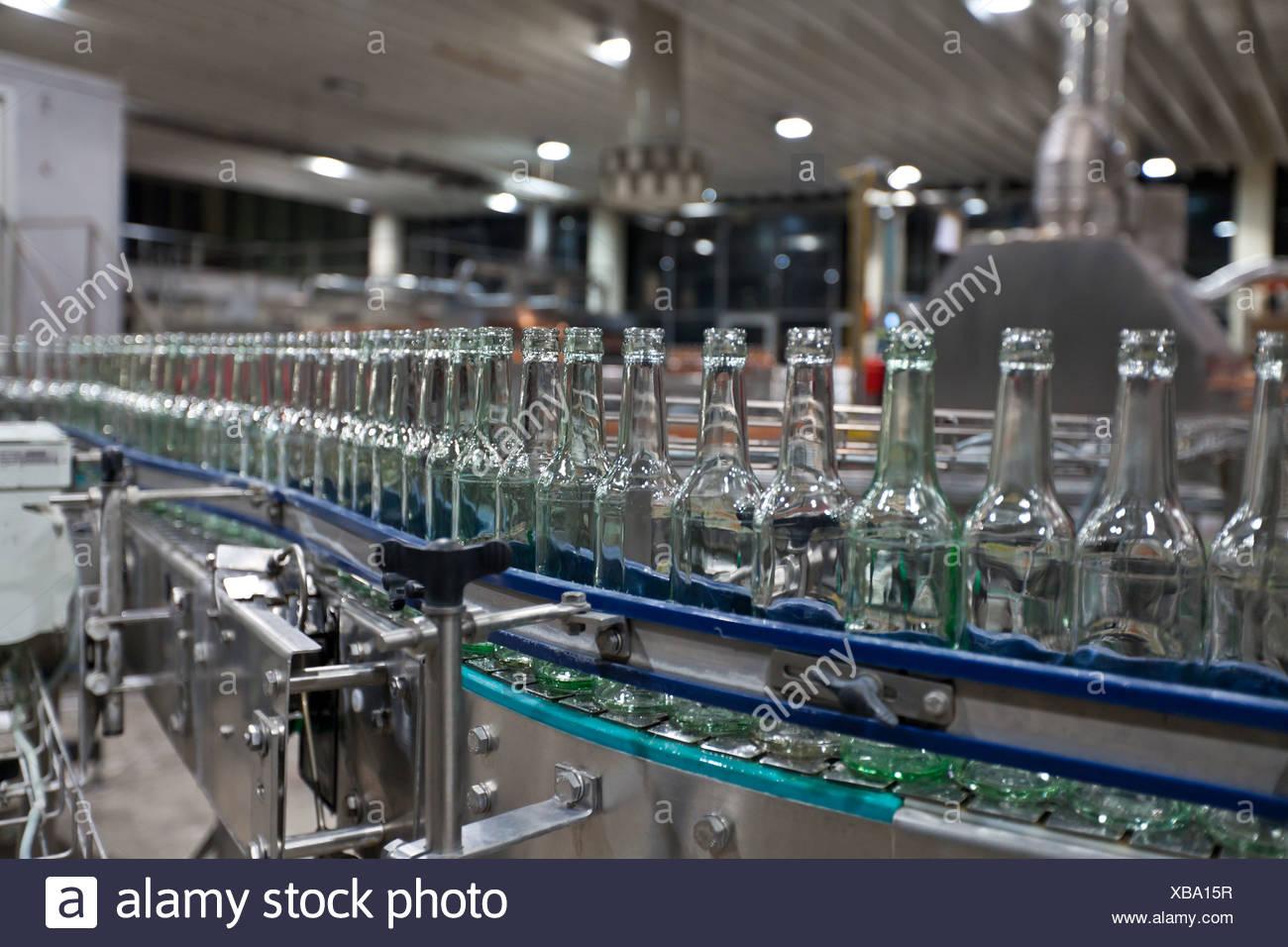 Le bottiglie da birra vuote dopo la pulizia, su di un nastro trasportatore, legame brewery, Francoforte Hesse, Germania, Europa Immagini Stock