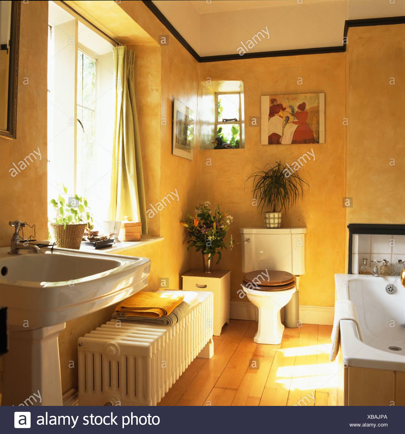 Grande radiatore bianco e pavimenti in legno nel tradizionale bagno di colore giallo foto - Bagno di colore ...