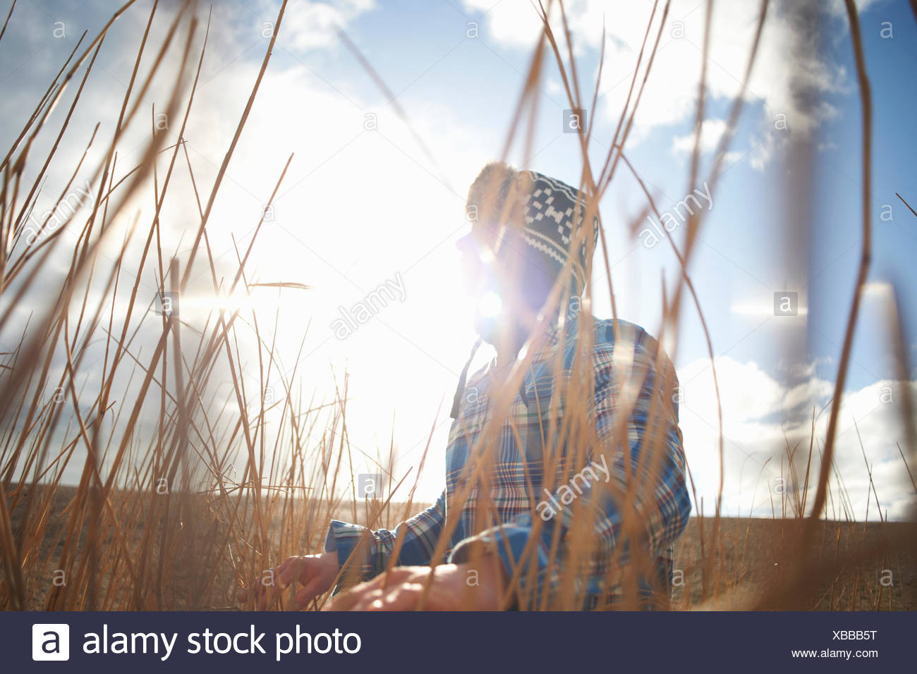 Uomo maturo guardando fuori da lamelle soleggiato Immagini Stock